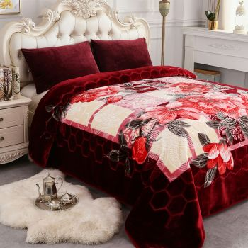 Burgundy/ Single Ply JML Fleece Blanket King Size Heavy Korean Mink Blanket 85 X 95 Inches- 9 Lbs Thick Raschel Printed Mink Blanket for Autumn,Winter,Bed,Home,Gifts Soft and Warm